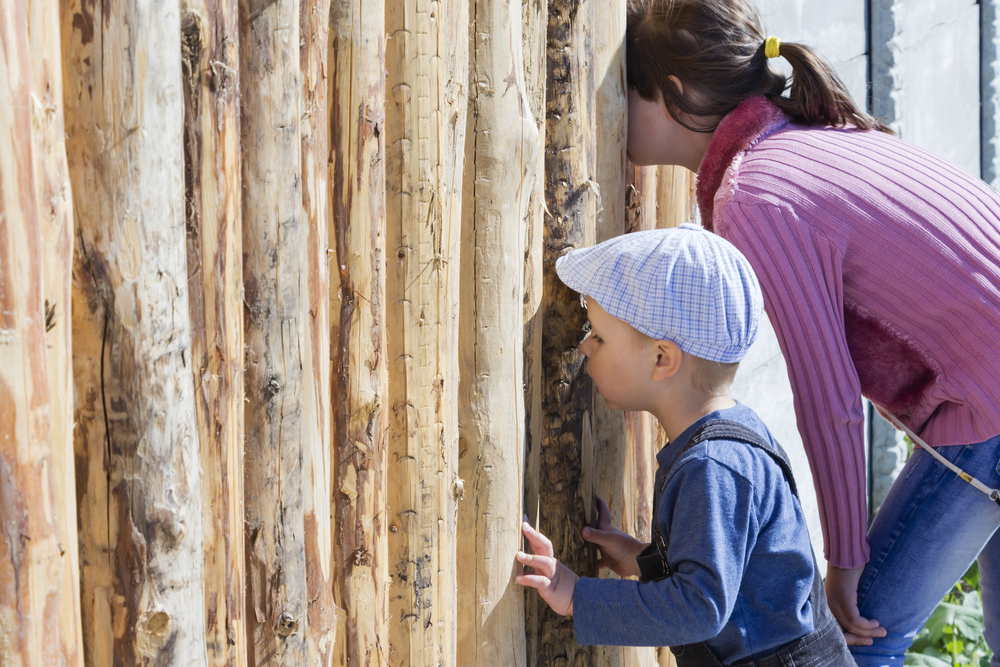 Children, spying through the hole in fence