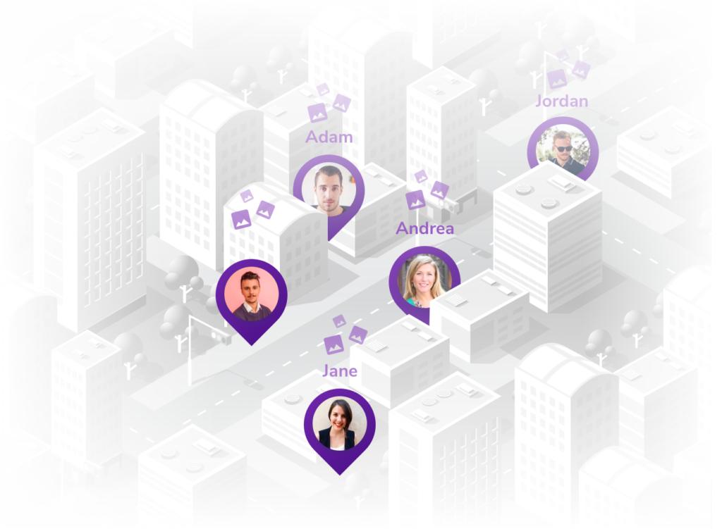 Team members on the street visualization