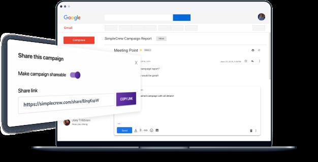 SimpleCrew sharing feature screenshot