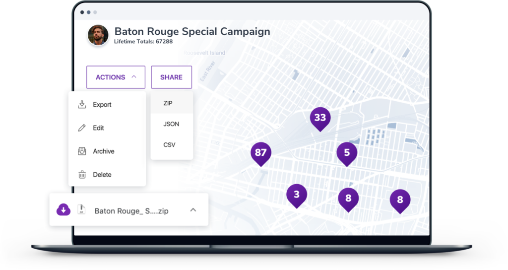 Animated screenshot of SimpleCrew campaign sharing feature