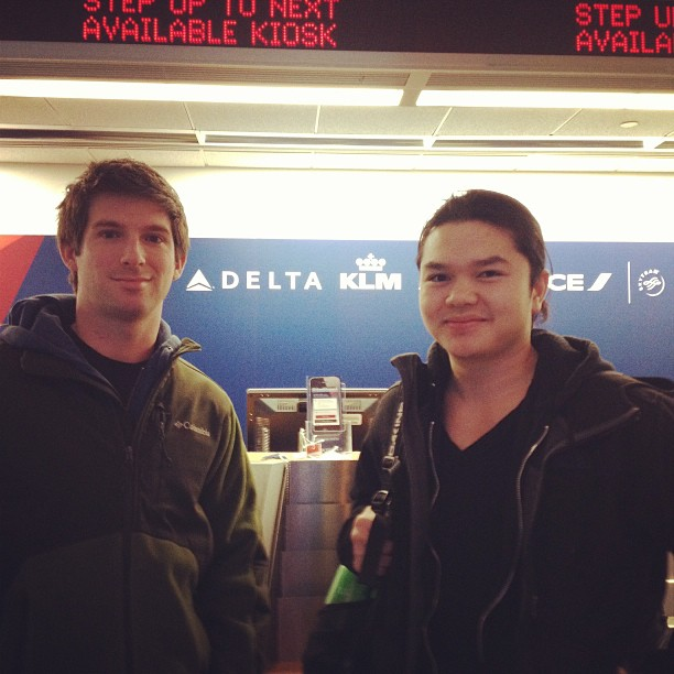 Mike with Alan in the airport