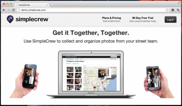 A screenshot of SimpleCrew website