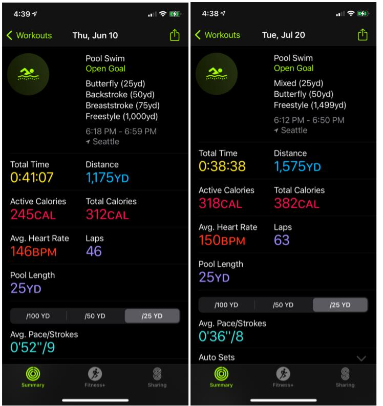 The comparison of 2 workouts, screenshots from Apple watch tracker