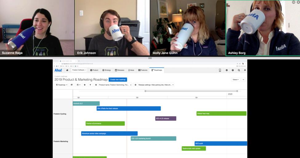 A screenshot of the online team meeting