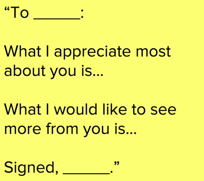 A sample of appreciation message