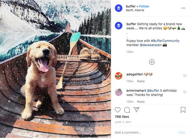 A screenshot of Instagram post about Buffer
