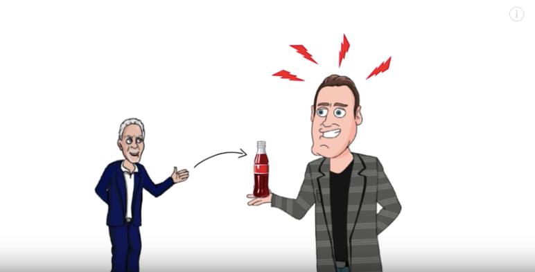 A man, offering Coca Cola