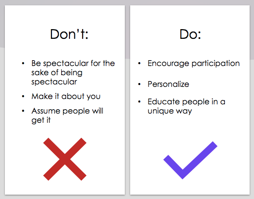 The comparison of do's and don'ts to engage the team