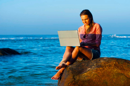 A girl working remotely