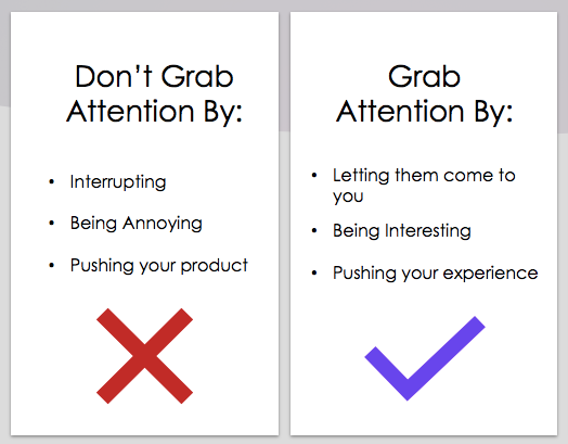 A comparison for ways to grab attention