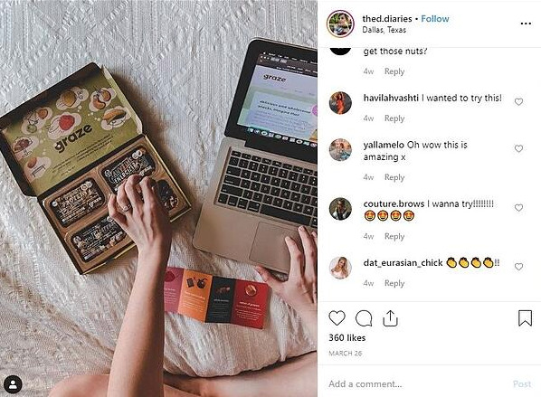 A screenshot of Instagram post with Graze