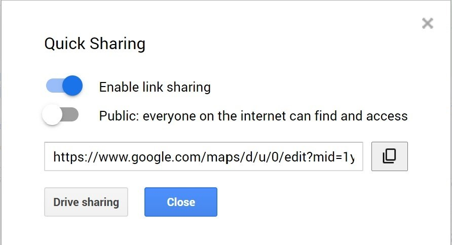 Enable the link sharing