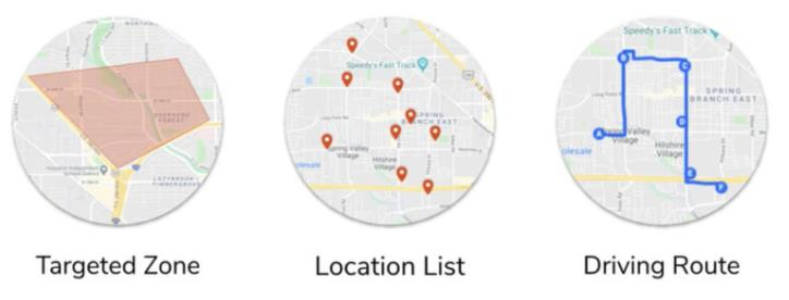 Targeted zones, location list, driving route