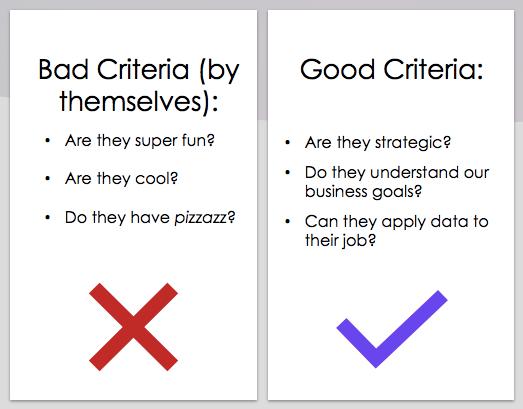 bad criteria vs good criteria