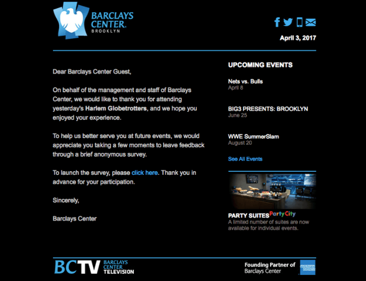 A screenshot of the email from Barclays event center