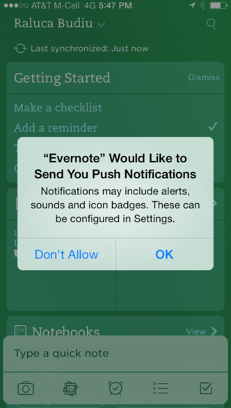 A sample of IOS push notification