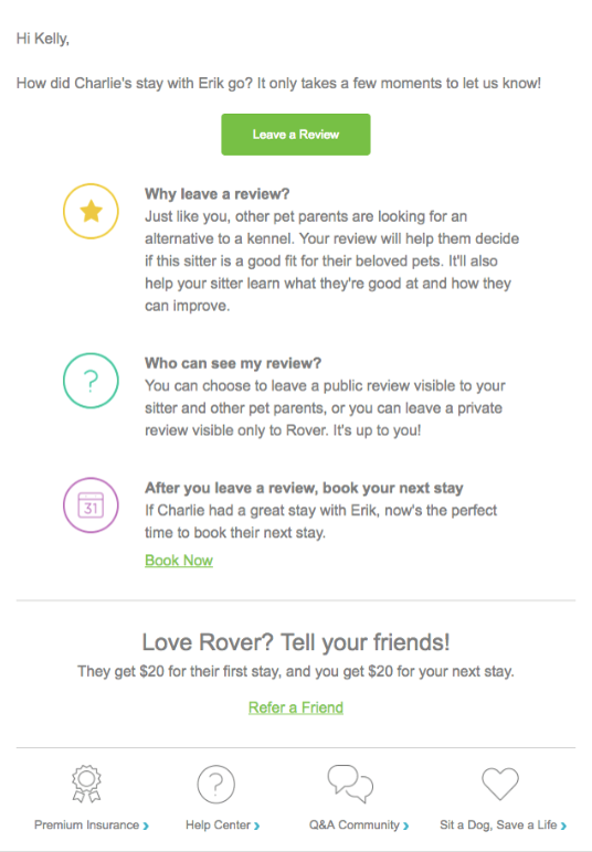 A screenshot of the email from Rover pet sitting service